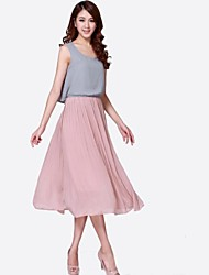CIROS®Women's Summer Chiffon Grey Pink Patchwork Pleated Dress