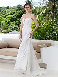 Lan Ting Sheath/Column Plus Sizes Wedding Dress - Ivory Sweep/Brush Train Sweetheart Lace