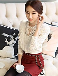 Women's Solid/Lace Blouse , Round Neck Long Sleeve Lace/Ruffle