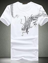 Cuello redondo de los hombres del ocio de la impresión de manga corta T-shirt