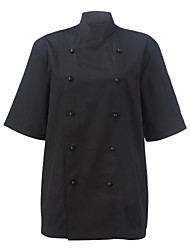 Restaurant Uniforms Black Short Sleeve Chef Coats with Double-Breasted Buttons