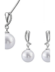 Fashion Drop Shape Copper Silver Plated Foreign Trade Zircon Pearl Jewelry Sets(White)(1Set)