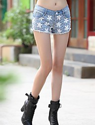 TS- Fashion Low Waist  Lace Splicing Denim Short Pants