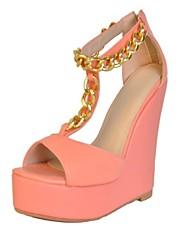 bc süßen Sommer rosa Frauenkeilabsatz-Sandalen mit Kette