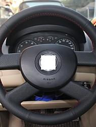 Натуральная кожа Xuji ™ Черный Руль Обложка для Volkswagen Polo 2004-2007 VW Polo