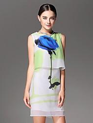 Frauen Ärmelloses Drucken China Wind Rose Seidenkleid
