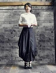 Mulheres Vintage Pure Color Linho Saia Midi