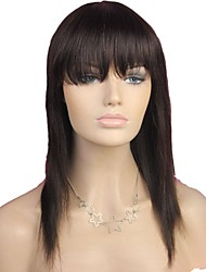 100% Human Hair Long Straight Full Bangs Capless Hair Wig Dark Brown
