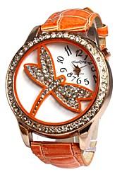 Women's Luxury Diamond  Dragonfly Pattern Gold Case PU Band Quartz Analog Wrist Watch(Assortedcolors) Cool Watches Unique Watches