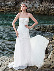 Lan Ting Sheath/Column Plus Sizes Wedding Dress - Ivory Sweep/Brush Train Strapless Chiffon/Lace/Stretch Satin