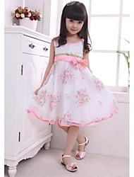 Girl's White Dress Chiffon / Cotton Blend Summer