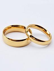 Для пары Кольца для пар Классические кольца Любовь Простой стиль Мода бижутерия Титановая сталь Позолота Круглой формы Бижутерия