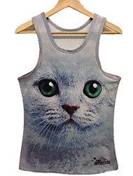Women's Print Multi-color T-shirt , Round Neck Sleeveless