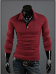 Men's Embroidery Slim Long Sleeve OL POLO Shirt T-shirt