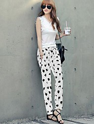Women's White/Black Loose/Harem Pants , Casual/Print