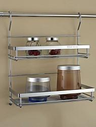 Cucina in acciaio inossidabile Mensola rack di stoccaggio Double Layer Aromi rack con 24Inch Hanging Rod e 5 ganci