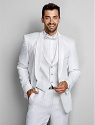 White Polyester Standard Fit Three-Piece Tuxedo