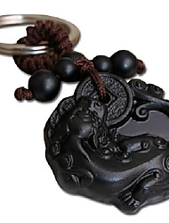 Duo Ji Mi ® 9CM Mythical Wild Animal With Money Ebony Woodcarvings Key Chain