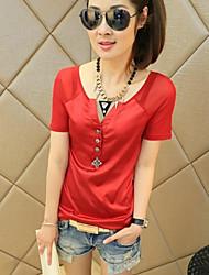 Damen Solide Einfach Lässig/Alltäglich T-shirt,V-Ausschnitt Sommer Kurzarm Rot / Weiß / Schwarz Andere Dünn