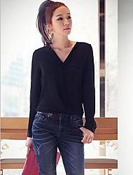 Di colore solido V Neck manica lunga in chiffon T-shirt MS00605 Luna Women domenica