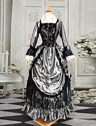 Silvery and Black Long Sleeves Satin Victorian Gothic Lolita Dress