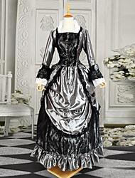 Plateado y Negro Largo Lolita Vestido mangas de raso gótico victoriano