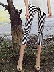 Modèle sexy rayé Pantalon cigarette des femmes