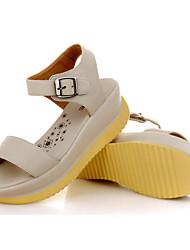 lulu Peep-Toe Lässige Koreanisch Heel Sandalen (Schwarz, Creme)