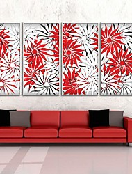Red and White Flowers Framed Canvas Print Set of  4
