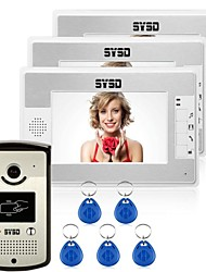 "7"" LCD Video Door Phone Doorbell Hands-free  Home Entry Intercom RFID Reader 3 Monitors"