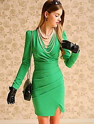 Women's Work Dress,Solid Above Knee Long Sleeve Black / Green Polyester / Spandex Spring