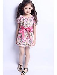Moda Bella bowknot Floral Cotton vestito della ragazza