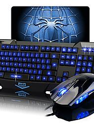 Tastiera e mouse luminosi Ajazz, per videogiochi, e tappetino per mouse