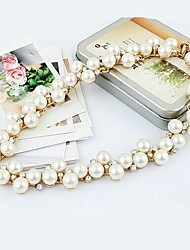 Imitation Pearl Metallic With Diamond Necklace(1pc)
