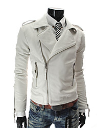 LangTuo Multiple Zippers Slim Petal Short Type Leather Coat (White)