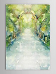Hand Painted Oil Painting Abstract  Path in The Garden with Stretched Frame