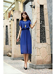 Women's Dress Midi Short Sleeve Blue Summer