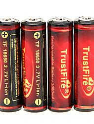 Trustfire 3000mAh Akku 186500 (4 Stück) mit Überladeschutz + 4 PC / Los-Hartplastik-Battery Storage Box