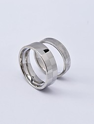 Punk Silver Square Frame Titanium Steel Couple Rings Promis rings for couples