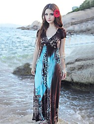 Elegant Boho Fashion Beach Maxi Dress Leopard Print Multiple Color