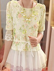 Women's Round Collect Show Thin Waist Design and Color Organza Blouse
