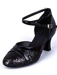 Cuir Chaussures Afficher Femmes Arc Strap Chunky Heel Paillette Dancing Shoes talon 6cm (Noir)