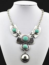 Pingente de prata antigo de turquesa do vintage (verde) (1 Pc)
