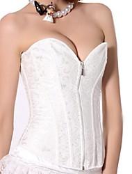 Moda feminina Sexy White Jacquard Palace Corsets