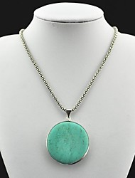 Toonykelly® Vintage Antique Silver Round Turquoise Necklace(Green)(1 Pc)