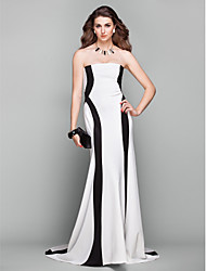 Formal Evening Dress - Elegant A-line Strapless Court Train Jersey with