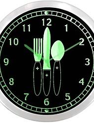 nc1002 Couteau Fourchette temps pour Master Chef Cuisine Néon LED Horloge murale