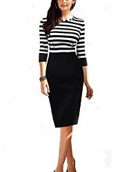 Women's Round Stripe Splicing Bodycon Plus Size Dress