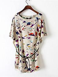 J & N en mousseline de soie à manches courtes imprimé floral robe des femmes
