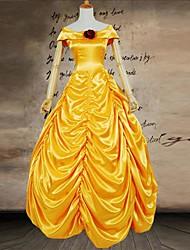 Yellow Slash neckline short sleeves Satin Lady's Victorian Dress Princess Lolita Dress